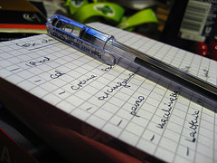pen laying of a to-do list.