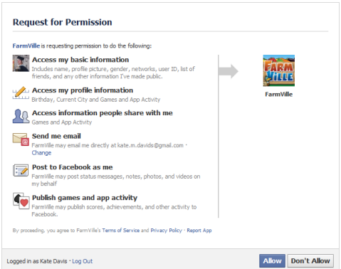 Farmville asking for my personal data