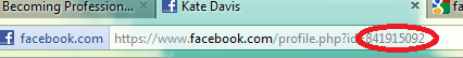 screen capture of my Facebook ID number in my profile's URL